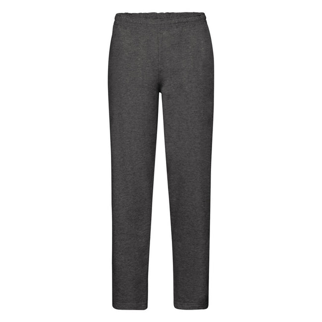 Dark Heather - Front - Fruit Of The Loom Mens Open Hem Jog Pants - Jogging Bottoms