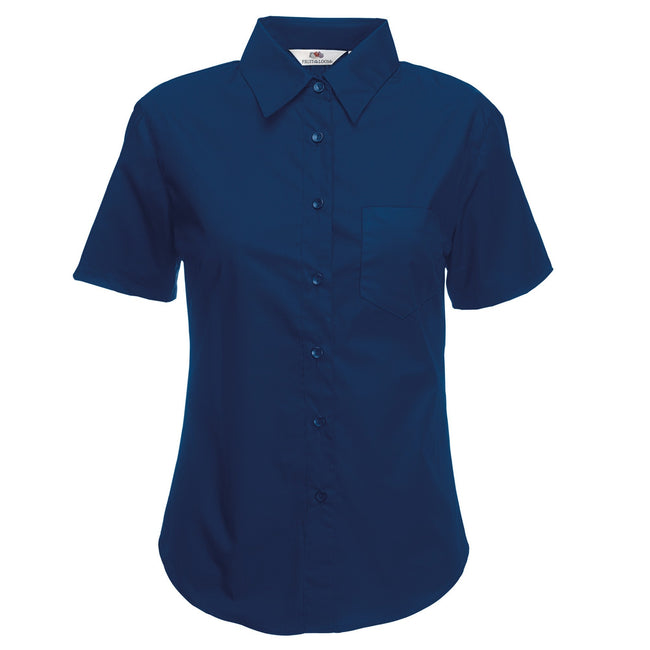Navy - Back - Fruit Of The Loom Ladies Lady-Fit Short Sleeve Poplin Shirt