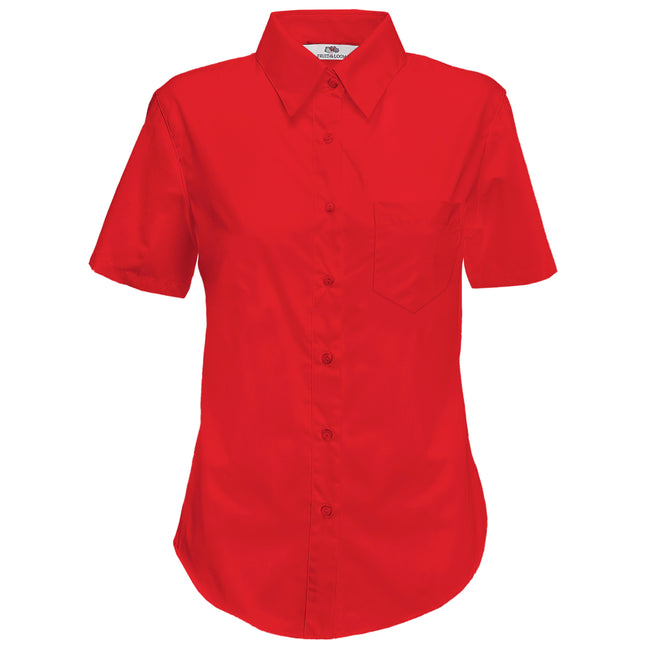 Red - Back - Fruit Of The Loom Ladies Lady-Fit Short Sleeve Poplin Shirt