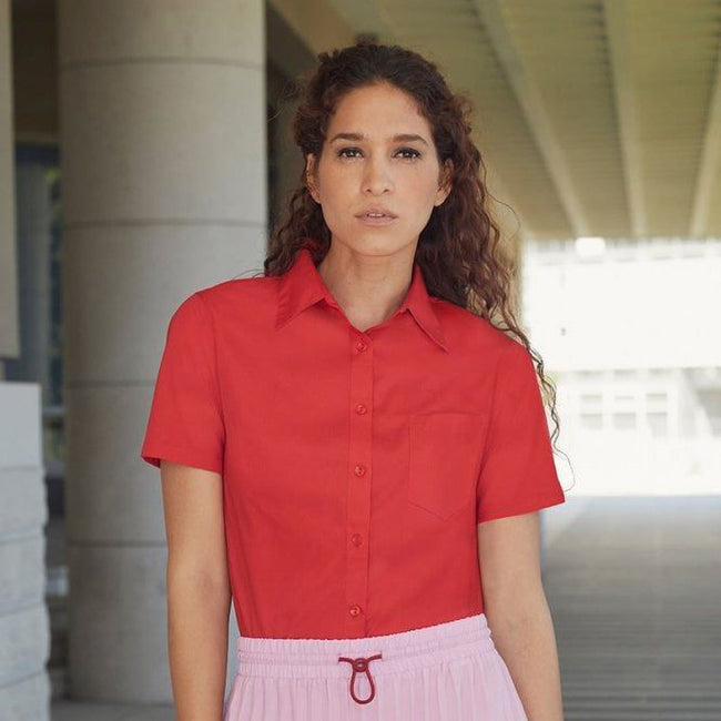 Red - Side - Fruit Of The Loom Ladies Lady-Fit Short Sleeve Poplin Shirt