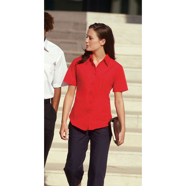 Mid Blue - Front - Fruit Of The Loom Ladies Lady-Fit Short Sleeve Poplin Shirt