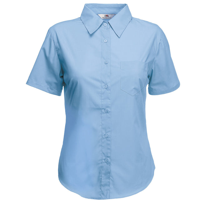 Mid Blue - Back - Fruit Of The Loom Ladies Lady-Fit Short Sleeve Poplin Shirt