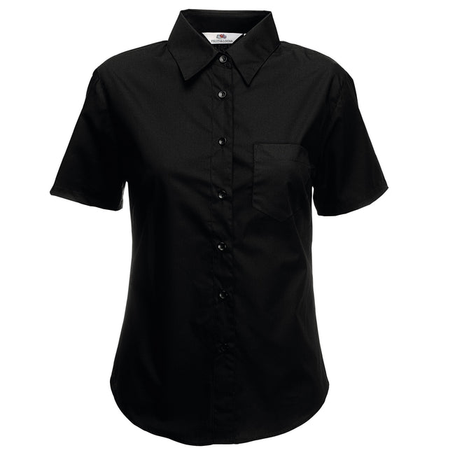 Black - Back - Fruit Of The Loom Ladies Lady-Fit Short Sleeve Poplin Shirt
