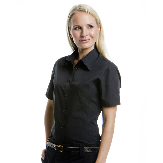 Navy - Front - Fruit Of The Loom Ladies Lady-Fit Short Sleeve Poplin Shirt