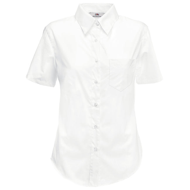 White - Front - Fruit Of The Loom Ladies Lady-Fit Short Sleeve Poplin Shirt