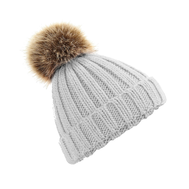Light Grey - Front - Beechfield Junior Unisex PomPom Chunky Beanie