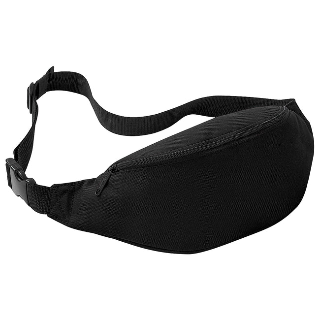 Black - Front - Bagbase Adjustable Belt Bag (2.5 Litres) (Pack of 2)