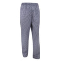 Navy-White - Front - Dennys Unisex Blue-White Check Fully Elasticated Trouser - Chefswear (Pack of 2)