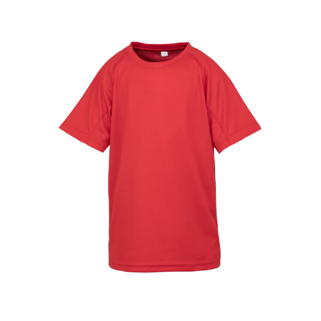 Red - Front - Spiro Impact Childrens-Kids Junior Performance Aircool T-Shirt