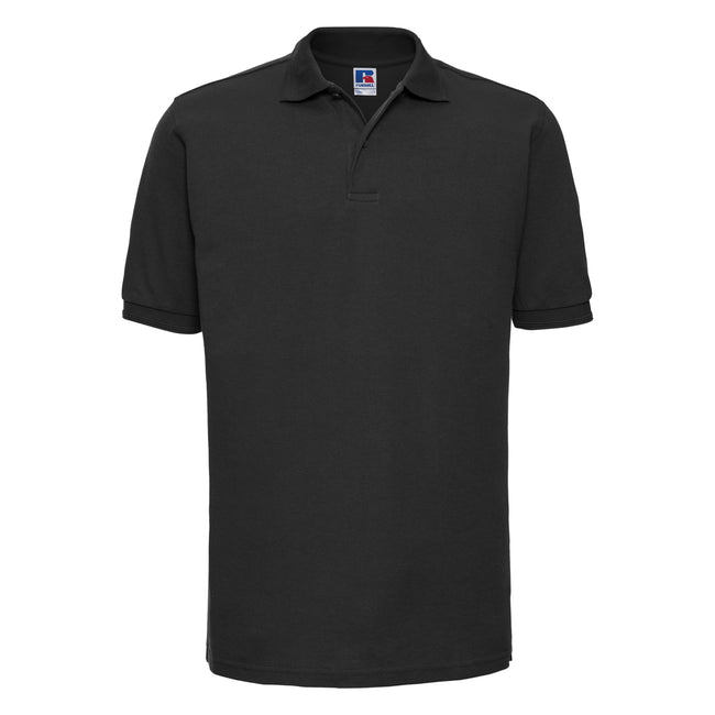 Black - Front - Russell Mens Ripple Collar & Cuff Short Sleeve Polo Shirt
