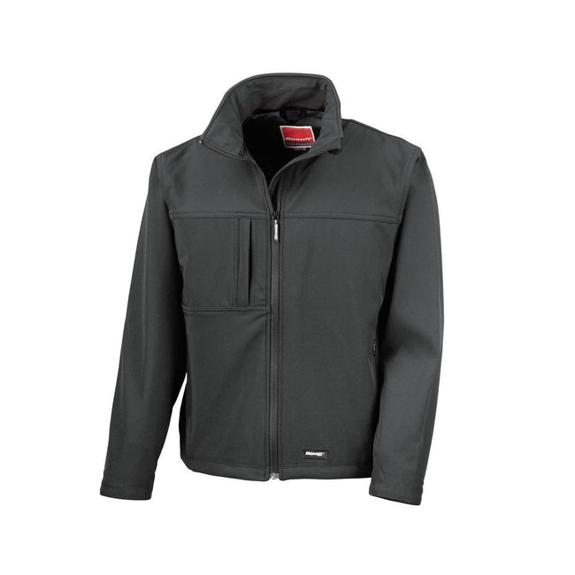 Black - Front - Result Mens Classic Softshell Breathable Jacket