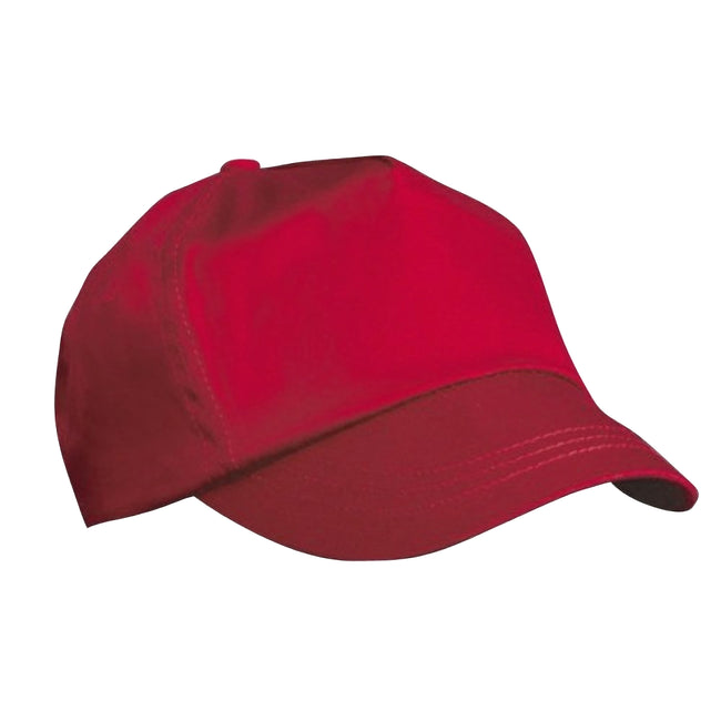 Red - Front - Result Unisex Childrens-Kids Plain Basebll Cap