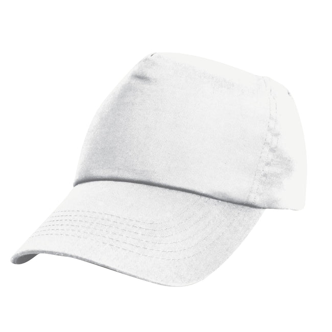 White - Front - Result Unisex Childrens-Kids Plain Basebll Cap