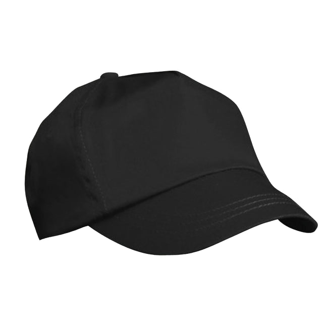 Black - Front - Result Unisex Childrens-Kids Plain Basebll Cap