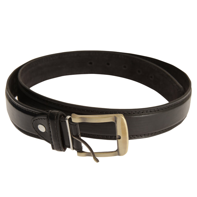 Black - Front - Forest Belts Mens 1.25 Inch Bonded Leather Belt