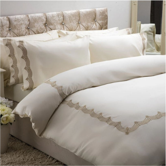 Gold - Front - Belledorm Annaya Duvet Cover Set