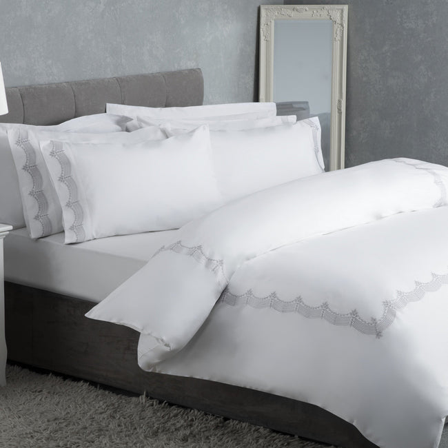 Grey - Front - Belledorm Annaya Duvet Cover Set
