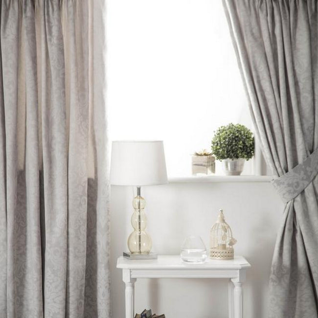 Grey - Front - Belledorm Bromley Lined Curtains