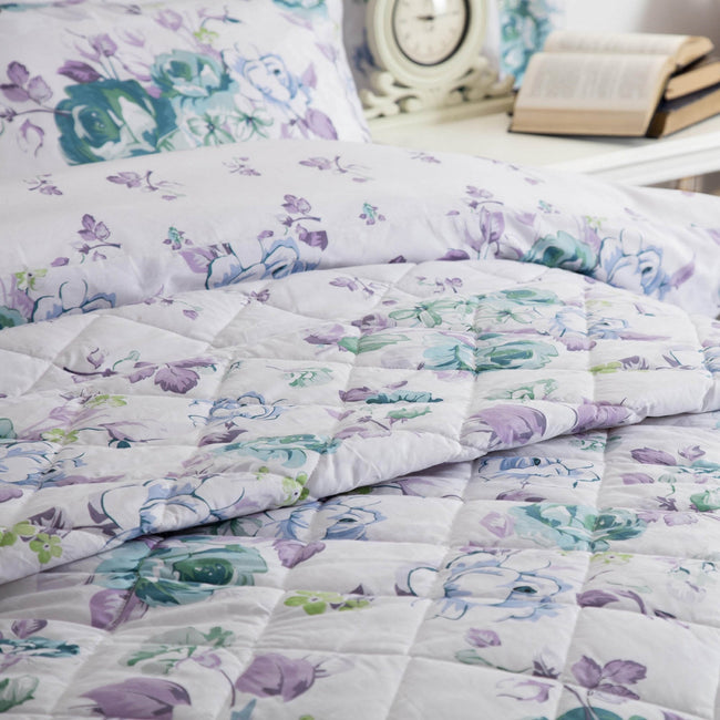 White-Purple-Green - Back - Belledorm Melody Quilted Bedspread