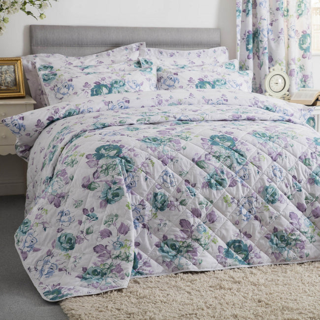 White-Purple-Green - Front - Belledorm Melody Quilted Bedspread