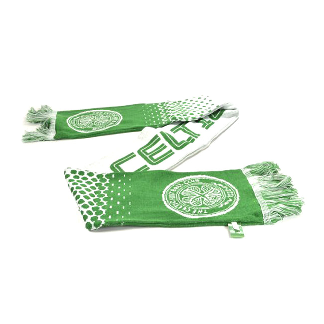 Green-White - Side - Celtic FC Official Football Fade Jacquard Scarf