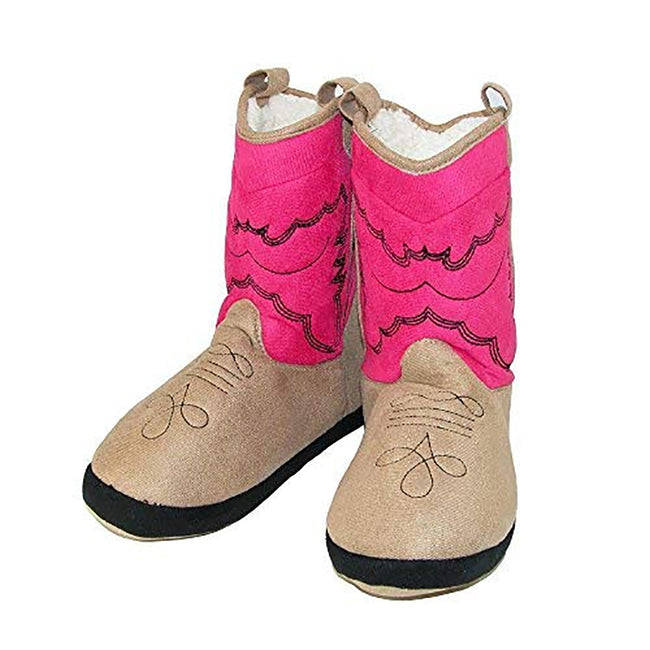 Pink Cowboy - Back - LazyOne Childrens-Kids Bootie Slippers