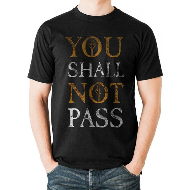 Black - Back - Lord Of The Rings Unisex Adults You Shall Not Pass Text Design T-shirt