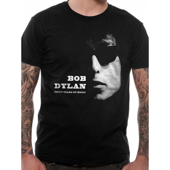 Black - Front - Bob Dylan Unisex Adults Fifty Years Of Music Design T-Shirt
