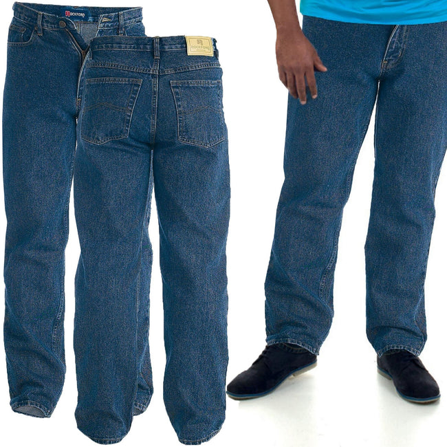Indigo - Back - Duke Mens Rockford Kingsize Comfort Fit Jeans