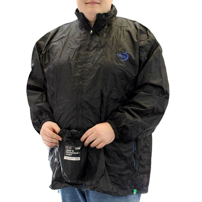 Black - Back - Duke Mens Zac Kingsize D555 Packaway Weather Proof Rain Jacket