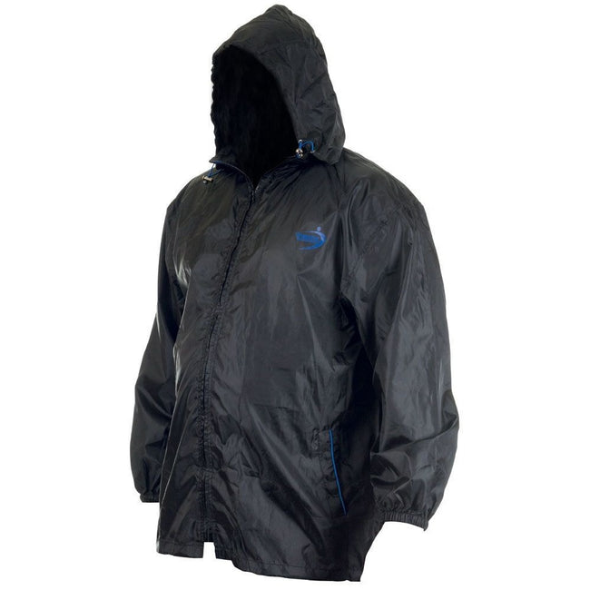 Black - Side - Duke Mens Zac Kingsize D555 Packaway Weather Proof Rain Jacket