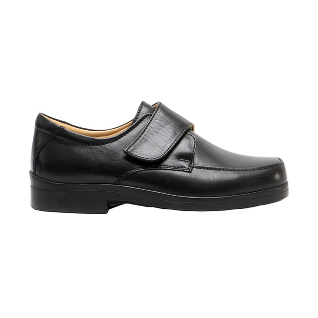 Black - Front - Roamers Mens Extra Wide Fitting Touch Fastening Casual Shoes