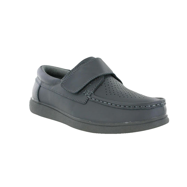 Grey - Front - Dek Mens Touch Fastening Leather Bowling Shoes