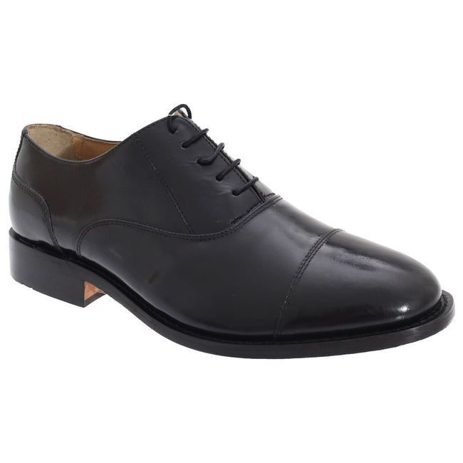 Black - Front - Kensington Classics Mens Premium Argentinian All Leather Capped Oxford Shoes