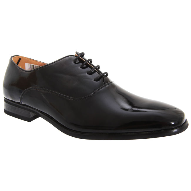 Black Patent - Front - Goor Mens Patent PU With Leather Lining Lace-Up Oxford Tie Dress Shoes