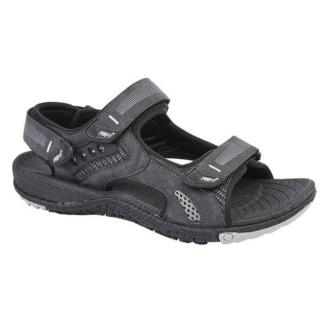 Black - Front - PDQ Mens Touch Fastening Superlight Sports Sandals