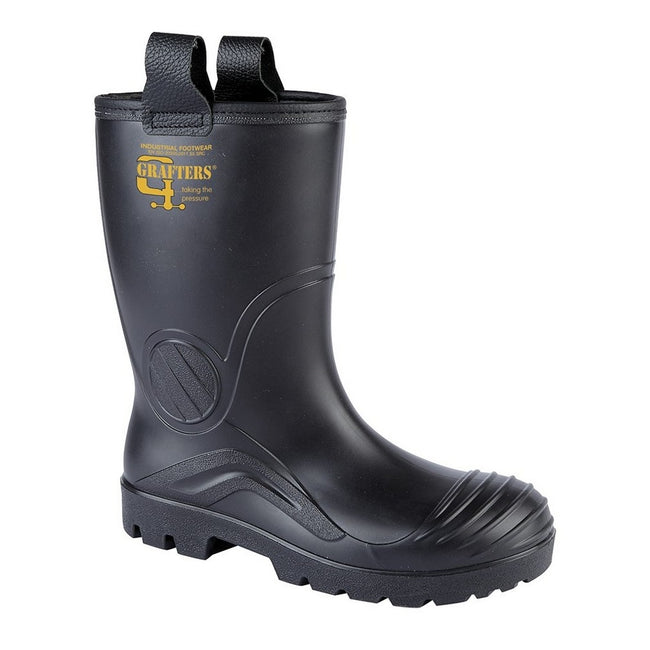 Black - Front - Grafters Mens PVC Waterproof Industrial Safety Rigger Boot