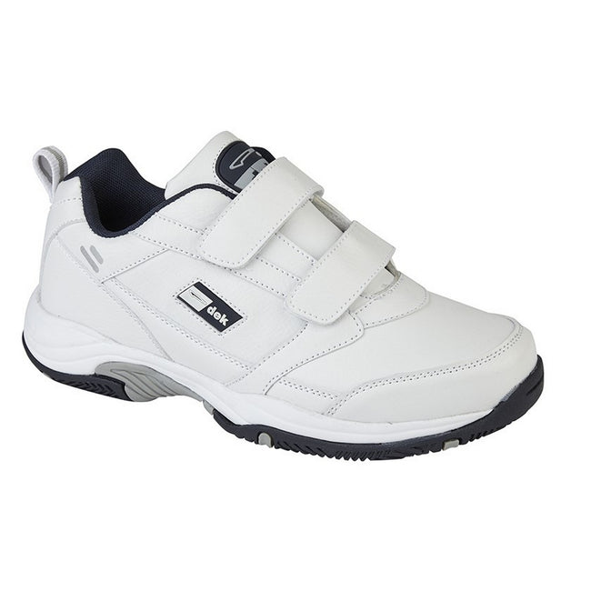 White - Front - Dek Mens Ohio Leather Trainers