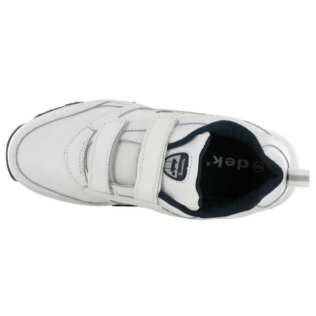 White - Side - Dek Mens Ohio Leather Trainers