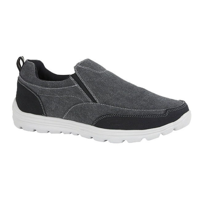 Black - Back - Dek Mens Memory Foam Slip On Shoes