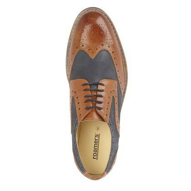 Dark Tan-Navy - Back - Roamers Mens 5 Eye Brogue Laced Nubuck Leather Shoe