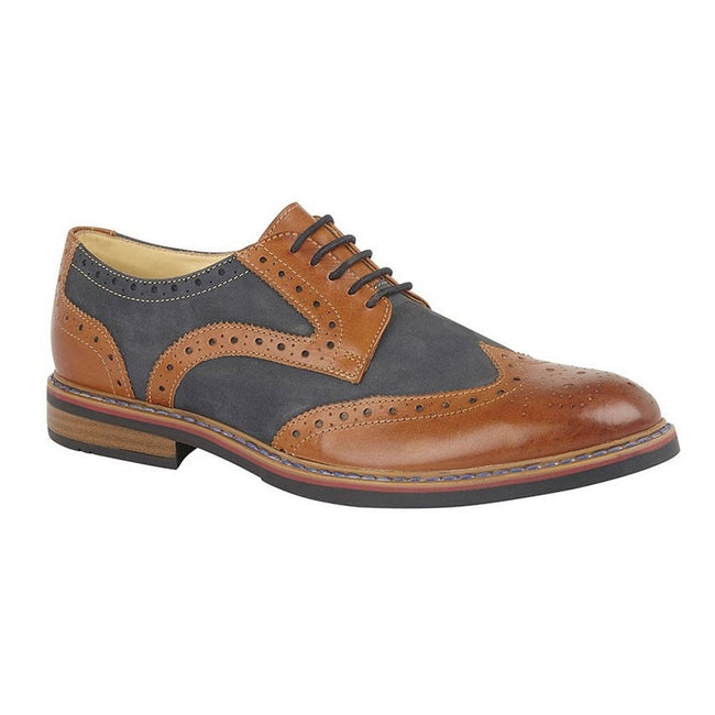 Dark Tan-Navy - Front - Roamers Mens 5 Eye Brogue Laced Nubuck Leather Shoe