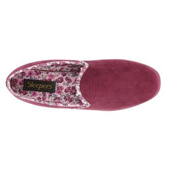 Burgundy - Side - Sleepers Womens-Ladies Edna Microfibre Suede Wedge Full Slipper