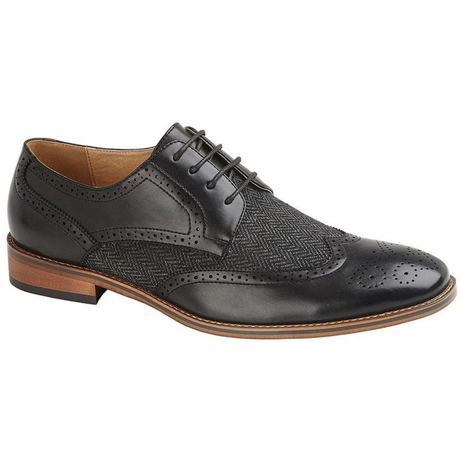 Black - Front - Goor Mens 4 Eye Leather Lined Brogue Gibson Shoe