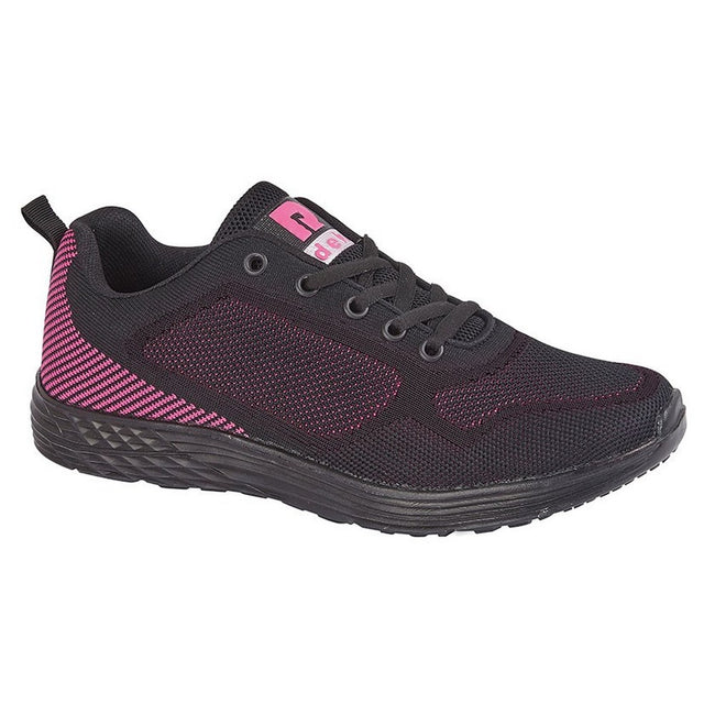 Black-Fuchsia - Front - Dek Womens-Ladies Fox Superlight 5 Eye Lace Trainer