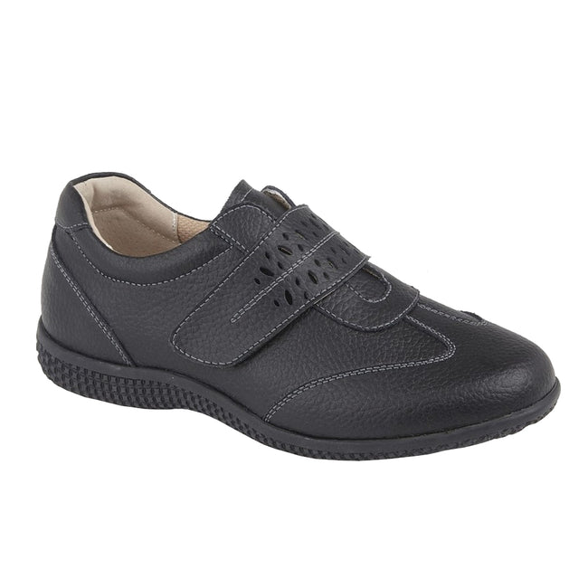 Black Action - Front - Boulevard Womens-Ladies Leather EEE Wide Touch Fastening Shoe
