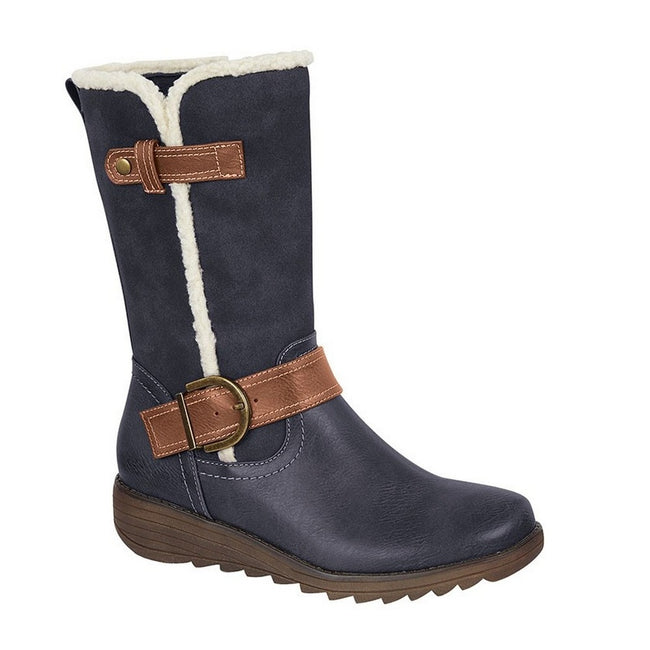 Navy - Front - Cipriata Womens-Ladies Pamela Suede Mid Calf Boots