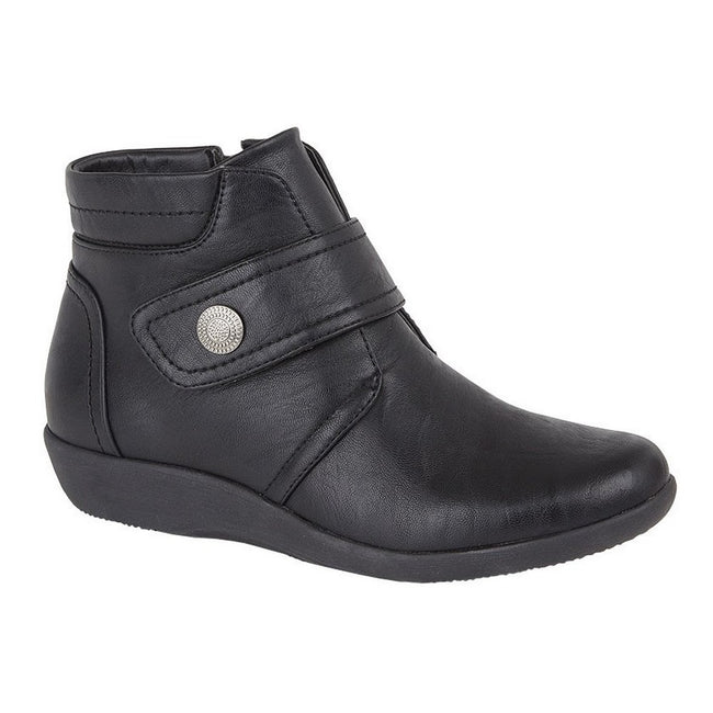 Black - Front - Boulevard Womens-Ladies Wide Fit Ankle Boots