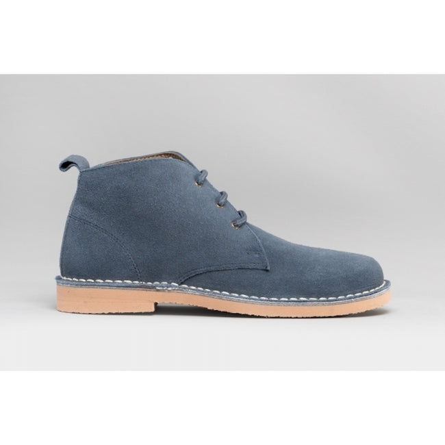 Blue - Back - Roamers Womens-Ladies Real Suede Lightweight Desert Boots