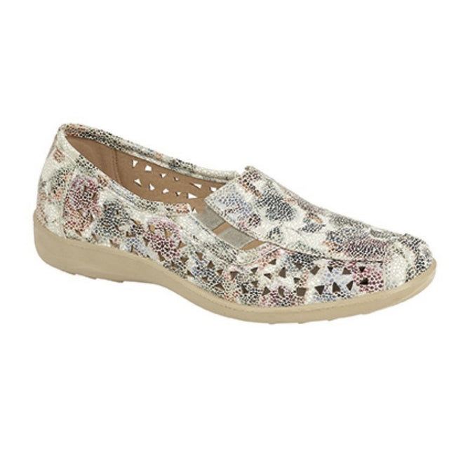 Multi Floral - Front - Boulevard Womens-Ladies Side Gusset Summer Casual Shoes